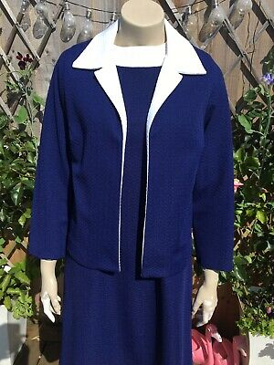 True vintage Shift Dress & Jacket 2 Pce Suit 1960s 60s Mod Crimplene 12 14