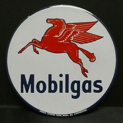 Dollhouse Miniatures Metal Sign Advertising MOBIL GAS 2 1/4""