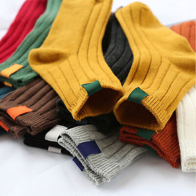 1Pair Thick Warm Women Socks Solid Color Striped Autumn Winter Cotton Stocks