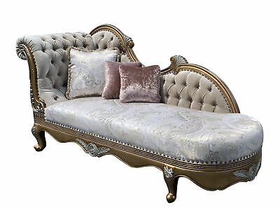 "92"" Vanessa Chaise Lounge Victorian Style Fainting Couch Hand Carved"