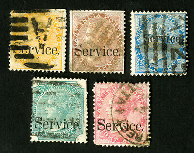 India Stamps # O17-21 VF Used Catalog Value $73.00