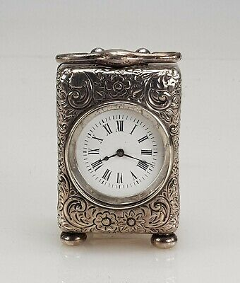 Miniature Solid Silver Victorian Carriage Clock