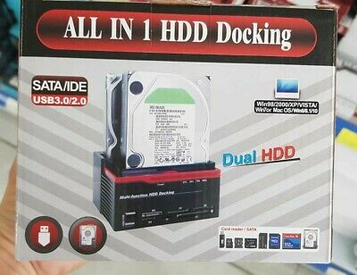 Tutto in 1 HDD Docking Station Dual USB HUB IDE SATA Hard SSD Drive Card Reader