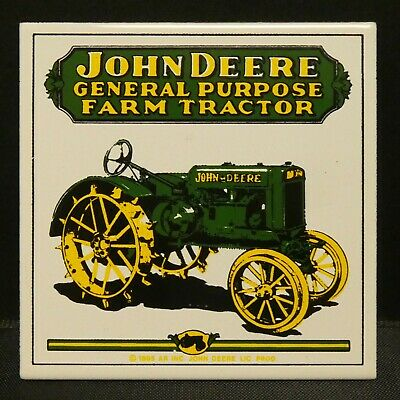"Dollhouse Miniatures Metal Sign Advertising JOHN DEERE FARM TRACTOR 2"" x 2"""