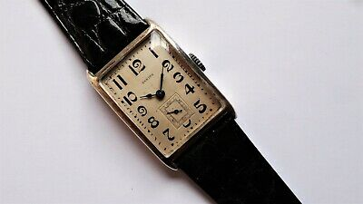 ZENITH oversized solid silver rectangular tank art deco vintage watch RARE
