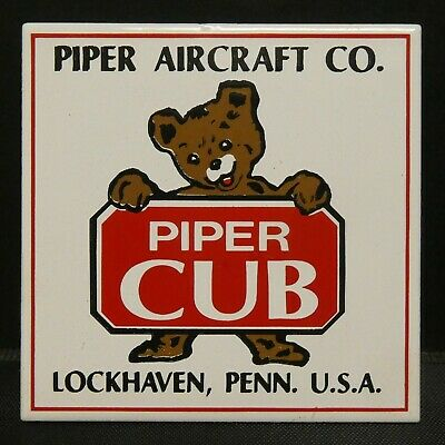 """Dollhouse Miniatures Metal Sign Advertising PIPER CUB AIRCRAFT CO 1 3/4"""" x1 3/4"""""""