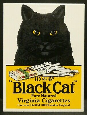 "Dollhouse Miniatures Metal Sign Advertising BLACK CAT CIGARETTES 2 1/2"" x3 1/4"""