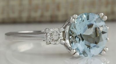 Brand new 925 sterling silver aquamarine ring with white sapphire