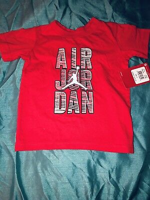 New W Tag Red Nike Air Jordan Toddler Boys Tee Shirt Black Red Size 3T