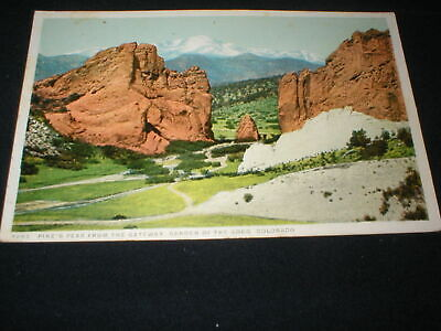 GARDEN OF THE GOD'S CO <> Pike's Peak From The Gateway Phostint Postcard 1924 PM
