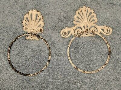 Pair of Antique Cast Iron Ornate White Towel Holder Rings (Set of 2)