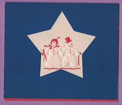 Vtg Art Deco Xmas Card Cut Out Star Embossed Mr Mrs Snowman Couple Red Accents