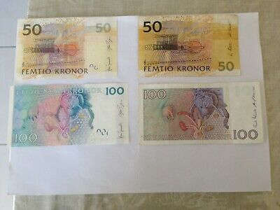 Circulated 50 & 100 Denomination Outmoded Swedish Kronor Bank Notes.