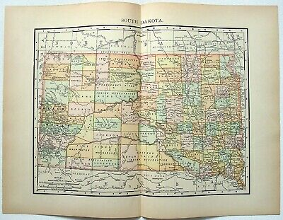 Original 1895 Map of South Dakota by Rand McNally. Antique