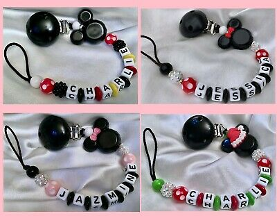 ❤ MINNIE or MICKEY ❤ Personalised Dummy Clip ❤ MAX 7 LETTERS ❤ 3 Colour Choices❤