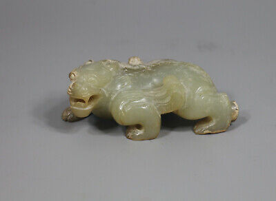 Han Dy. Chinese old jade carved 4-leg dragon beast figure statue