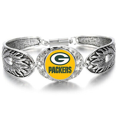 Green Bay Packers Special Women's Sterling Silver Bracelet Football Gift D3