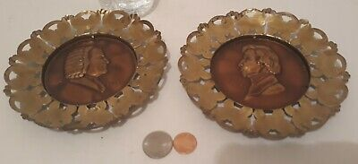 2 Vintage Metal Brass Wall Hanging Plates, Bach, Chopin, Set of Plates, England