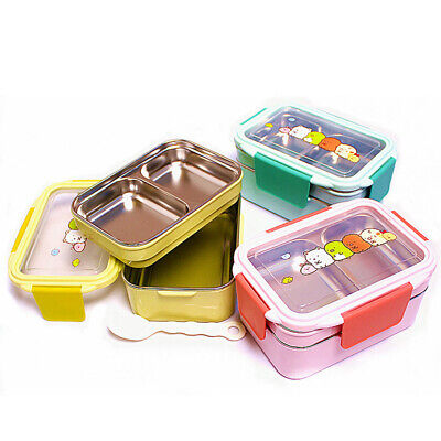 2-Layer Separated Lunch Box Container Student Stainless Steel Kids Bento Box