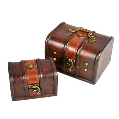 Treasure Chest Jewellery Organizer Bins Vintage Storage Box Wooden Chic Pirate