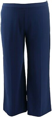 Dennis Basso Luxe Crepe Wide-Leg Pull-On Pants Navy XL NEW A346660