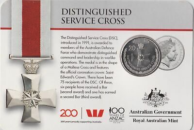 Australian Distinguished Service Cross 20 cent carded coin 2017