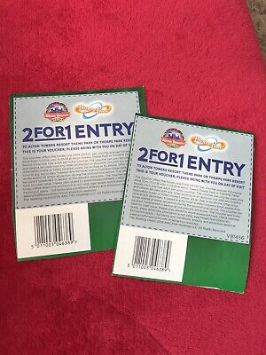 2 X Alton Towers Resort Thorpe  Park 2 For 1 Entry Vaucher Coupon Tickets