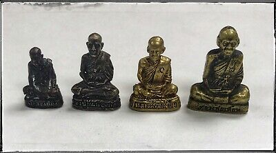 Thai Amulet very real rare 4 old small Buddha Antique Statue Pendants Collection