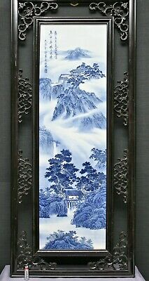 Exqusitie Antique Chinese Hand Painted Porcelain Plaque Signed & Dated 1919