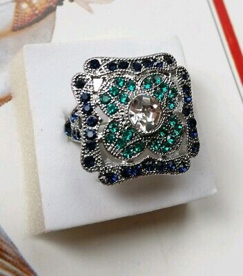 128 Art Deco Vintage Silver Plated Blue Green Rhinestone Crystal Cocktail Ring p