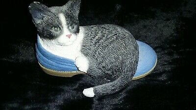 Fraser Creations Black & White Cat Laying In Blue Boot Ornament