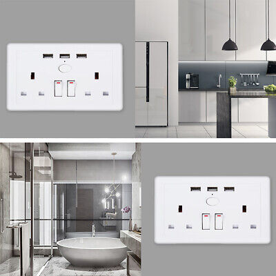 Double Wall Socket 2 Gang Plug 13A with 3 USB Port Charger Outlets White Plate