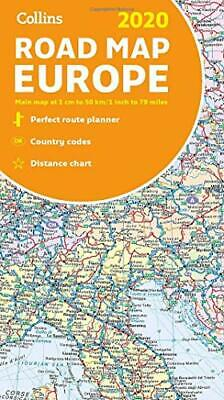 2020 Collins Map of Europe New Paperback Book
