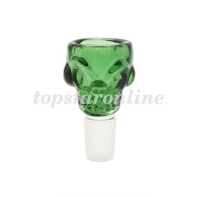 Green 18mm Male Skull Glass Slide Bowl With Free Screens USA Fast Free Shipping