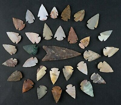 "33 PC Flint Arrowhead Ohio Collection Points 1-3"" Spear Bow Stone Hunting 1589"