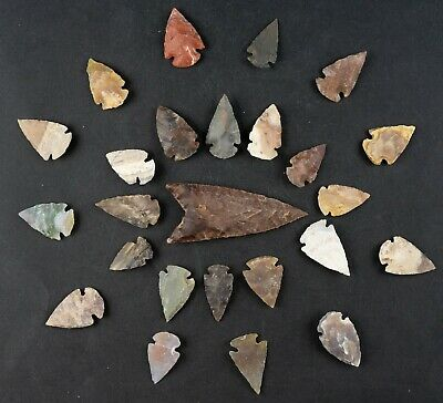"25 PC Flint Arrowhead Ohio Collection Points 1-3"" Spear Bow Stone Hunting 1587"