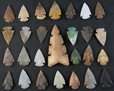 "27 PC Flint Arrowhead Ohio Collection Points 1-3"" Spear Bow Stone Hunting 1586"