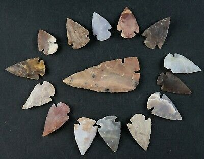 "15 PC Flint Arrowhead Ohio Collection Points 1-3"" Spear Bow Stone Hunting 1585"