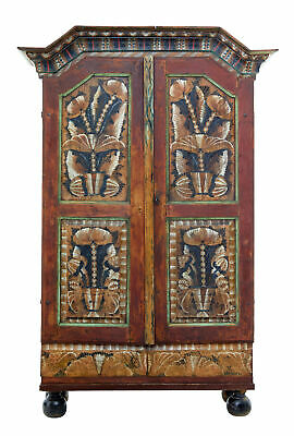 Mid 19Th Century Traditional Swedish Hand Painted Cupboard