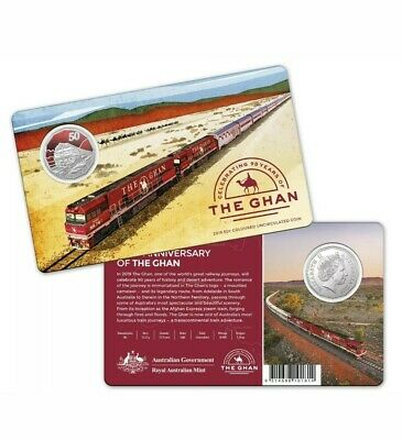 2018 The Ghan - Celbrating 90th Anniversary 50 Cent Coloured Coin