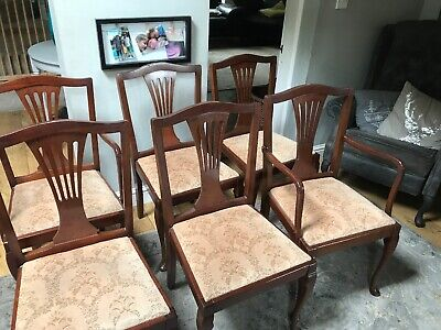 Antique set of dining chairs x 6 2 Carvers Fan Back