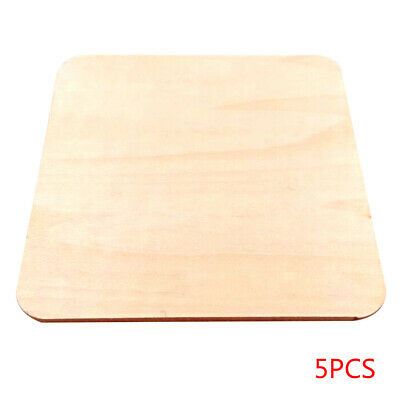 5pcs Round Corner Square Unpainted Wood Pieces DIY Painting Wood Board