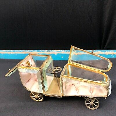 Large Antique French Ormolu Watch & Ring Holder Glass  Car Shape RARE