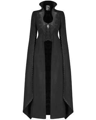 Punk Rave Womens Long Gothic Coat Jacket Black Cloak Sleeve Steampunk Sansa GOT