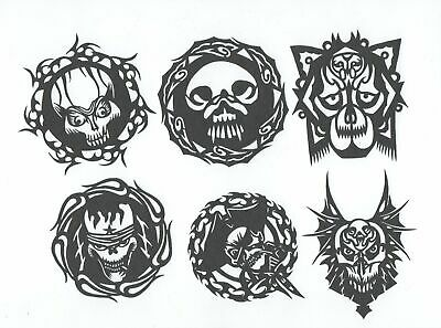 Chinese Paper Cuts Skull Set Grayish Black color 10 small pieces Chen