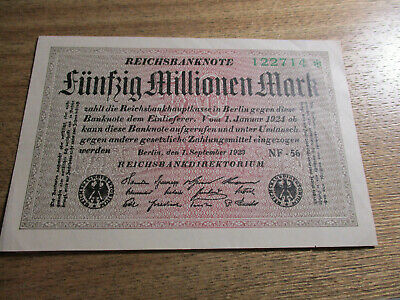 Germany Inflation Note 1923 50 Million Mark