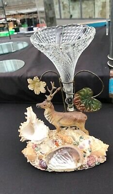 ANTIQUE FRENCH EPERGNE VASE STANDING ON A COLD PAINTED SPELTER DEER FIGURE 1900s