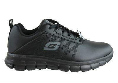 NEW Skechers Womens Sure Track Erath Black Leather Slip Resistant Work Shoes
