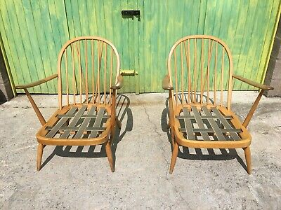 Vintage Ercol 203 Pair Of Windsor Lounge Chairs