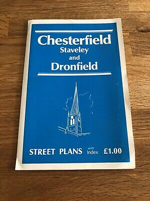 Vintage Chesterfield, Staveley and Dronfield Street Plan Map Guide Used